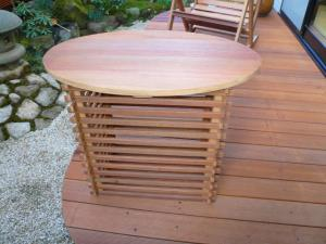 楕円・横格子テーブル【幅400mm長さ700mm】